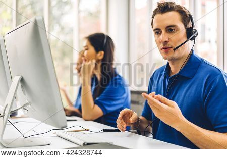 Group Of Happy Call Center Smiling Business Operator Customer Support Team Phone Services Agen Worki