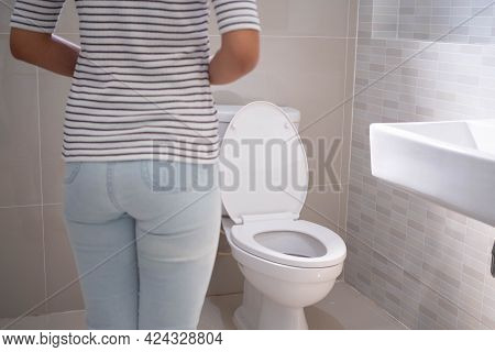 Woman Have Contraction And Stomach Pain. Diarrhea Concept