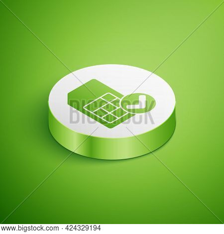 Isometric Sim Card Icon Isolated On Green Background. Mobile Cellular Phone Sim Card Chip. Mobile Te