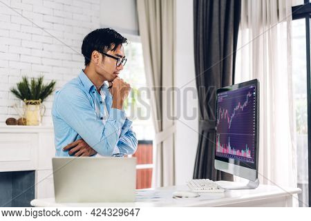 Successful Of Business Trader Investor Asian Man Use Technology Computer Trading Graph Of Block Chai