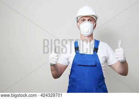 Worker Man Wearing Face Mask And Protective Hard Hat