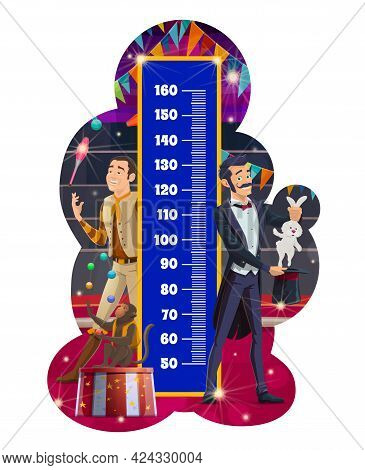 Kids Height Chart, Shapito Circus. Growth Measure Meter With Cartoon Big Top Tent Artists Juggler Wi