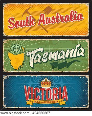 South Australia, Tasmania And Victoria States, Australian Island And States Vintage Plates. Vector M