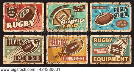 Rugby Sport Rusty Metal Plate, City Tournament Or Championship, Sport Club Tin Plates. Flying And Sp