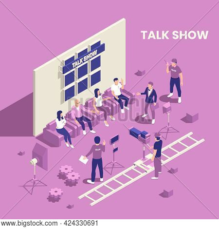 Tv Show Isometric Poster With Talk Show Symbols Vector Illustration
