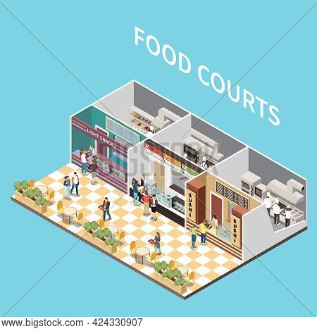 Shopping Mall Airport Take Away Cafe Food Courts Isometric View With Arranging Meals Personnel Custo