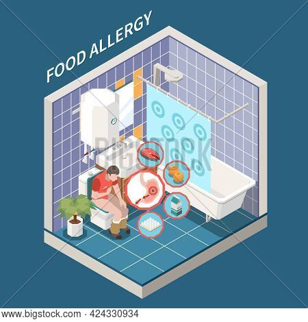 Food Allergy Signs Symptoms Isometric Bathroom Interior View With Suffering From Nausea Cramping Dia