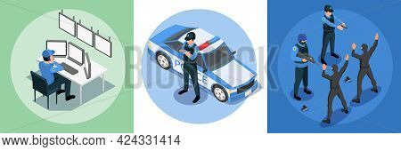 Police Security Isometric Design Concept Set Of Three Square Compositions With Guard Police Patrol D