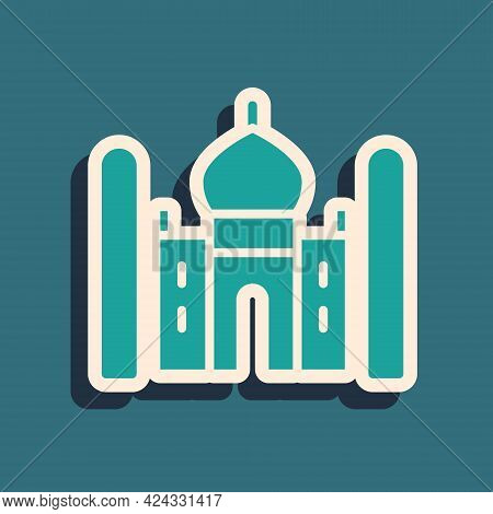 Green Taj Mahal Mausoleum In Agra, Indiaicon Isolated On Green Background. Long Shadow Style. Vector