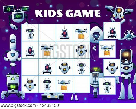 Sudoku Kids Game Block Puzzle With Vector Robots And Droid Drones Background Frame. Education Mind G