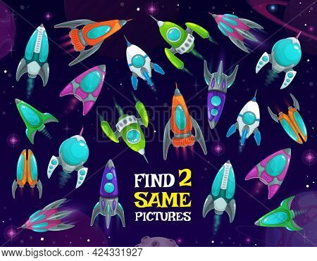 Spaceships In Space Kids Game, Find Two Same Rockets Vector Riddle With Shuttles In Galaxy. Children