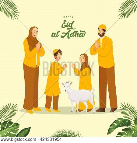 Eid Al Adha Greeting Card. Cartoon Muslim Family Celebrating Eid Al Adha With A Goat For Sacrificial