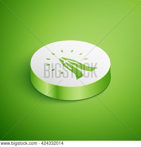Isometric Hands In Praying Position Icon Isolated On Green Background. Prayer To God With Faith And