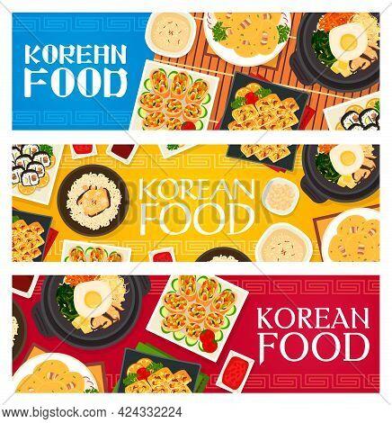 Korean Cuisine Vector Chicken Mushroom Rice, Bean Pancakes With Bacon, Vegetable Omelette. Sushi Rol