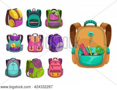 Cartoon Vector Schoolbags Icons, Kids School Bags Of Bright Colors, Knapsacks And Rucksacks Design .