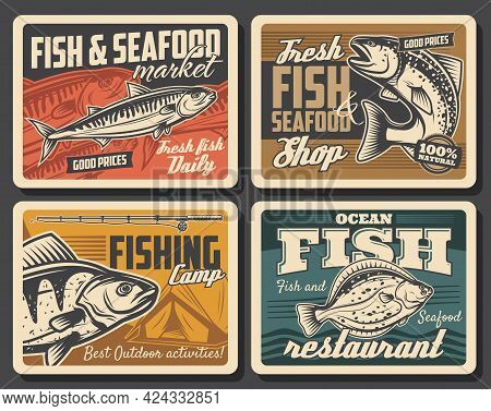 Fish And Seafood, Fishing Sport Vector Design. Salmon, Tuna And Flounder, Bass And Mackerel, Fisherm