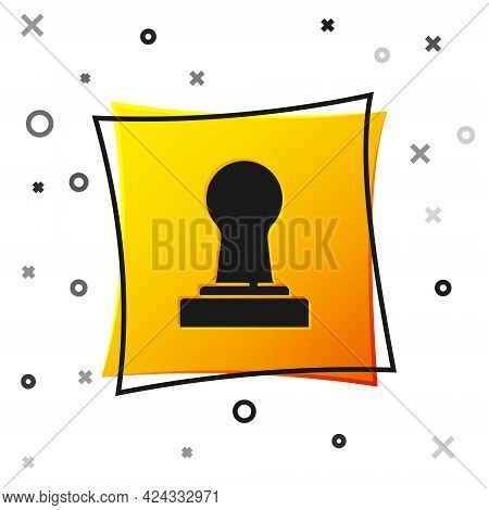 Black Coffee Tamper Icon Isolated On White Background. Yellow Square Button. Vector