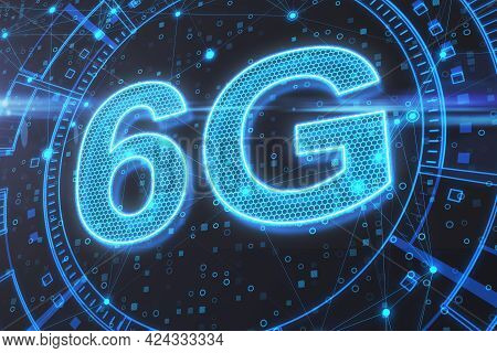6g Network Digital Hologram And Internet Of Things Background. High Speed Internet Concept. 3d Rende