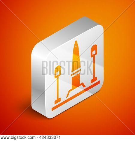 Isometric Place De La Concorde In Paris, France Icon Isolated On Orange Background. Silver Square Bu