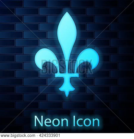 Glowing Neon Fleur De Lys Icon Isolated On Brick Wall Background. Vector