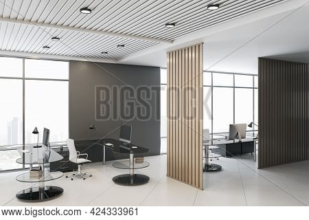 Modern Concrete Coworking Office Interior With City View, Daylight And Partition. 3d Rendering
