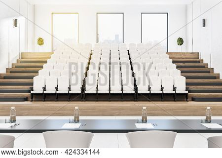 Creative Concrete Auditorium Interior With Seatings, City View And Daylight. Training Concept. 3d Re