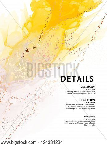 Yellow Texture Watercolor Ink Background Abstract Ink Texture Gradient Original Paint, Canvas Frame