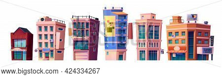 Modern Town Architecture And City Buildings, Apartments And Condominiums, Business Centers And Comme