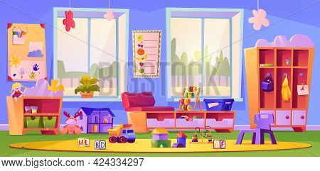 Children Toys And Furniture At Kindergarten Or Daycare. Schooling And Education By Playing Games. Wi
