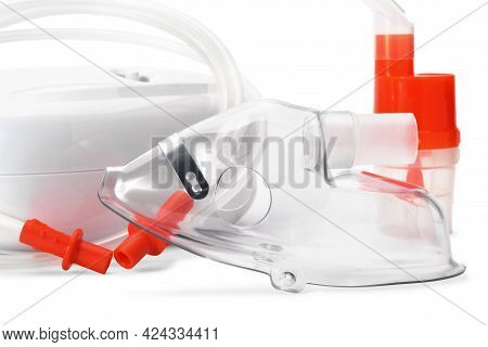 Close Up Of Respiratory Mask For Compressor Nebulizer Isolated On White Background. Medical Equipmen