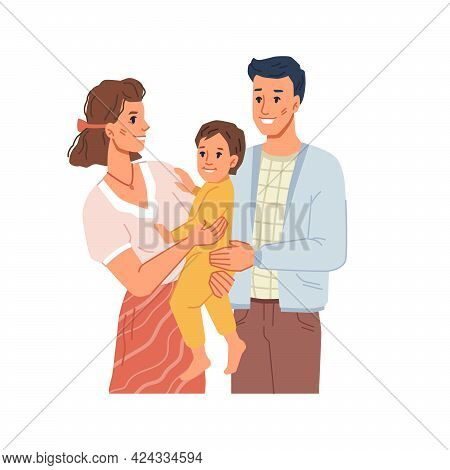 Happy Strong Family With Child, Mom And Dad Smiling Holding Kid On Hands. Mother With Kiddo, Father