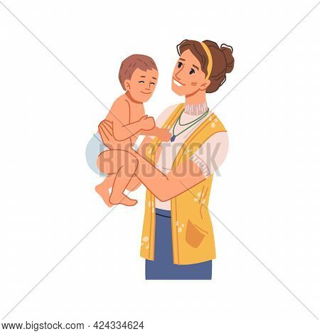 Female Personage Caring For Newborn Child, Mother Playing With Kiddo Wearing Diaper. Mom Loving Kid,