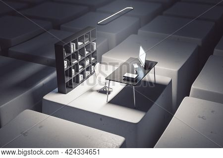 Creative Desktop With Computer Workplace On Keyboard Keys. Digital Transformation And Remote Work Co