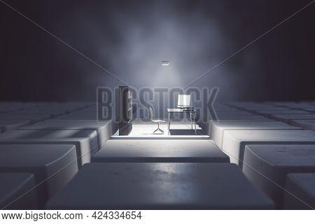 Dark Desktop With Computer Workplace On Keyboard Keys. Digital Transformation And Remote Work Concep