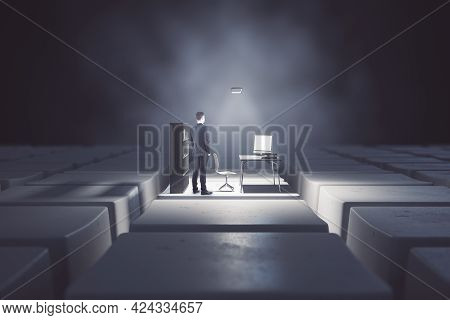 Businessman With Abstract Desktop With Computer Workplace Standing On Keyboard Keys. Digital Transfo