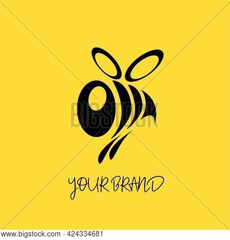 Big Bee Brand Vector Logo Template. It's A Big Bee Logo Cartoon Character. Decorative Bee Sign. Vect