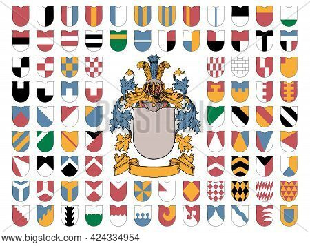 Coat Of Arms And The Ordinaries And Lines Of Partition On White Background