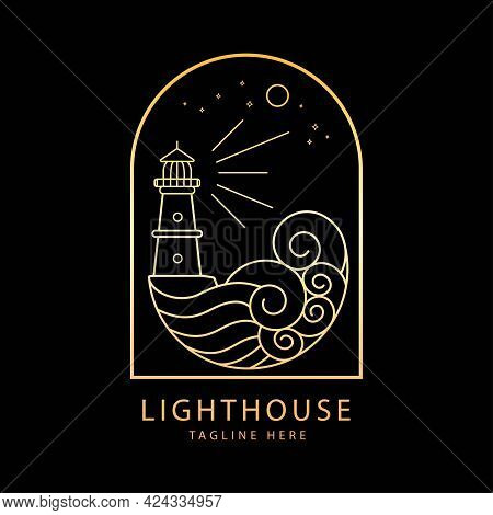 Lighthouse Logo With Ocean Wave Mono Line Style Design Gradient Color