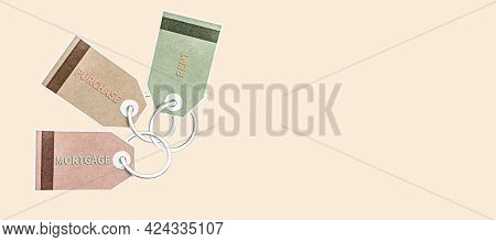 Stickers Of Different Colors With The Inscription - Mortgage, Purchase, Rent. Concept For Real Estat