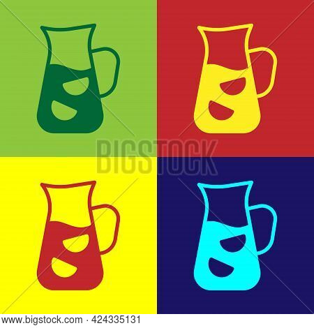 Pop Art Sangria Icon Isolated On Color Background. Traditional Spanish Drink. Vector