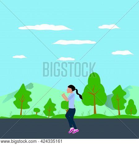 A Girl Jogging In The Morning Flat Design Illustration