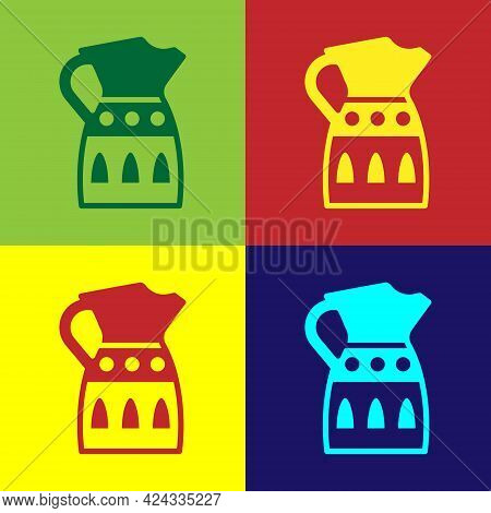 Pop Art Sangria Pitcher Icon Isolated On Color Background. Traditional Spanish Drink. Vector