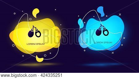 Black Musical Instrument Castanets Icon Isolated On Black Background. Abstract Banner With Liquid Sh