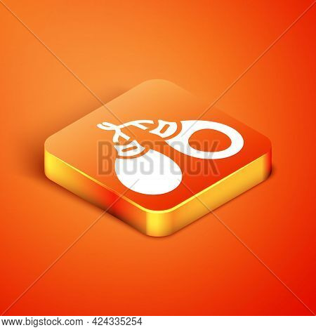Isometric Musical Instrument Castanets Icon Isolated On Orange Background. Vector