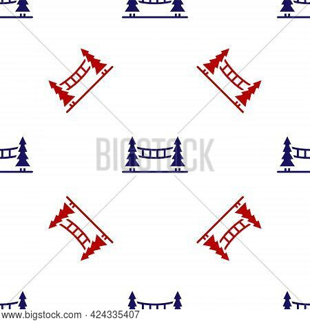 Blue And Red Capilano Suspension Bridge In Vancouver, Canada Icon Isolated Seamless Pattern On White