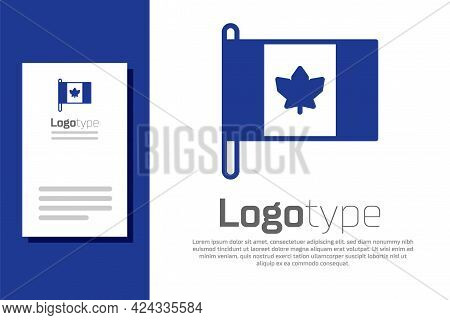 Blue Flag Of Canada Icon Isolated On White Background. North America Country Flag On Flagpole. Logo