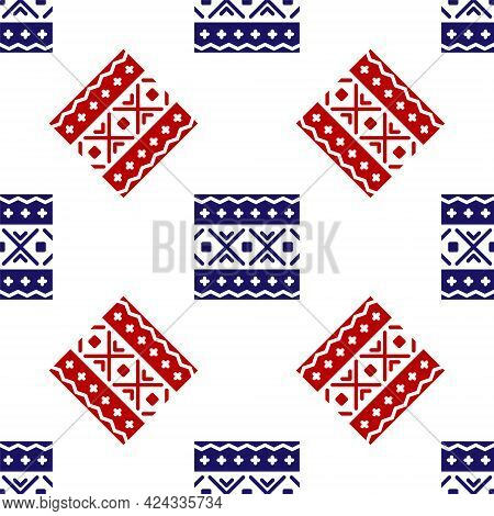 Blue And Red Ukrainian Ethnic Pattern For Embroidery Icon Isolated Seamless Pattern On White Backgro