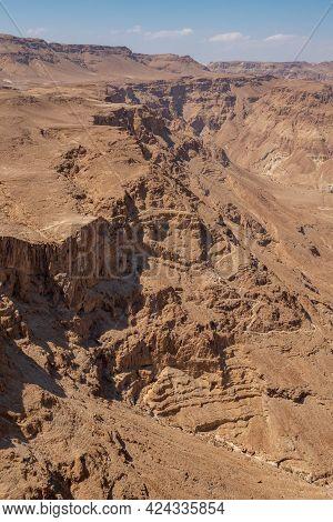 Ruins Of High-rise Fortress Masada, Israel. Masada National Park In The Dead Sea Region Of Israel. T