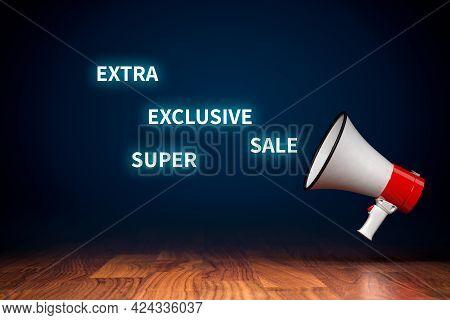 Marketing Advert Superlatives Concept With Megaphone. Extra Super Exclusive Sale Marketing Communica
