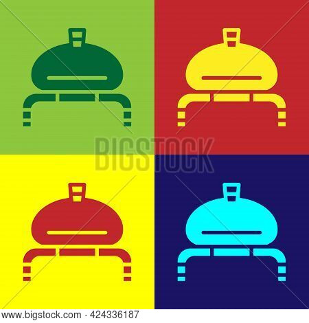 Pop Art Bread And Salt On Towel Icon Isolated On Color Background. National Food Loaf. Traditional U